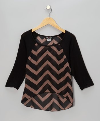 Black & Brown Zigzag Hi-Low Raglan Top