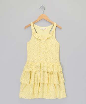 Yellow Lace Ruffle Dress