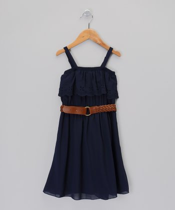 Navy Eyelet Ruffle Dress