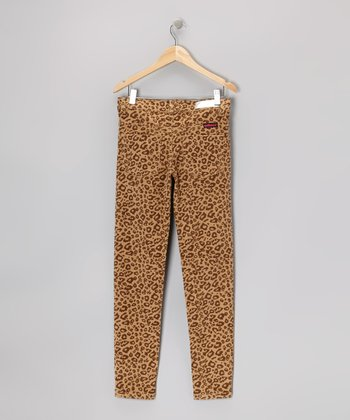 Tan Leopard Corduroy Pants - Girls