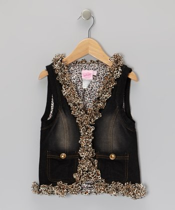 Dark Wash Leopard Denim Vest - Girls