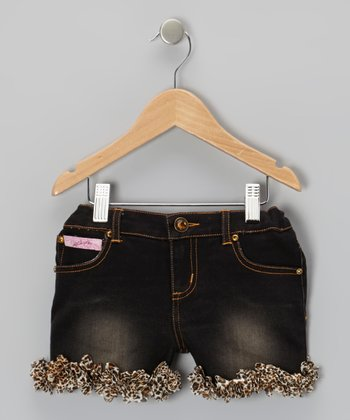 Dark Wash Leopard Ruffle Shorts - Girls