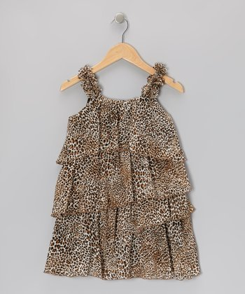 Brown & Black Leopard Tiered Ruffle Dress - Toddler & Girls