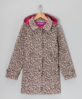 Tan Leopard Hooded Trench Coat