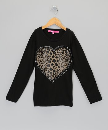 Black & Brown Rhinestone Leopard Heart Tee