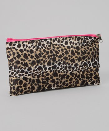 Brown & Cream Leopard Cosmetic Bag