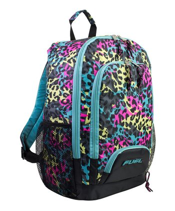 Black & Teal Neon Cheetah Backpack