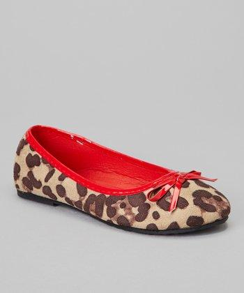 Chatties Red Cheetah Bow Ballet Flat