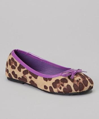 Chatties Purple Cheetah Bow Ballet Flat