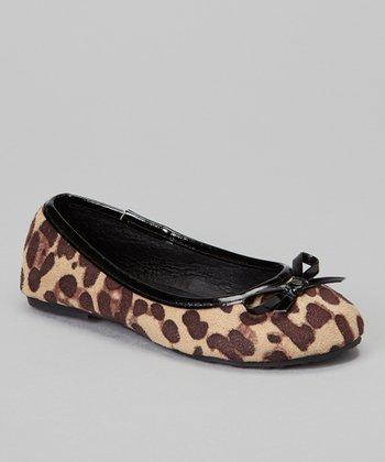 Chatties Black Cheetah Bow Ballet Flat