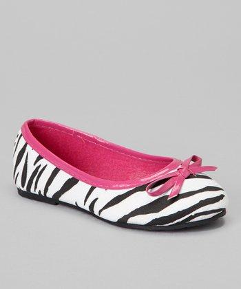 Chatties Fuchsia Zebra Bow Ballet Flat