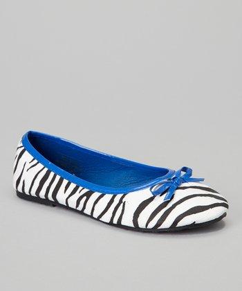 Chatties Cobalt Blue Zebra Bow Ballet Flat