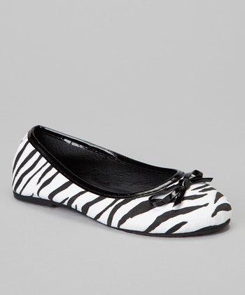 Chatties Black Zebra Bow Ballet Flat
