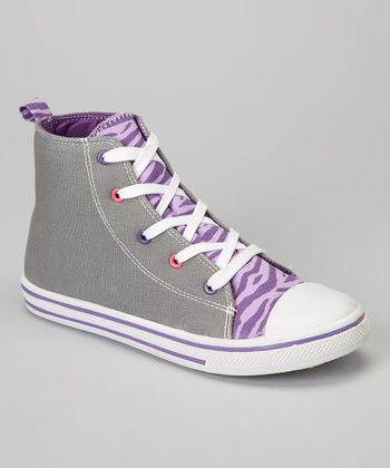 Gray & Purple Zebra Hi-Top Sneaker