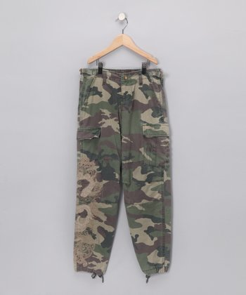 Green Embroidered Camo Cargo Pants - Girls