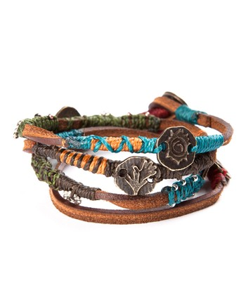 Brown, Blue & Red Leather Bracelet
