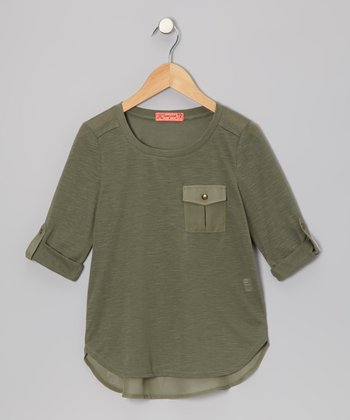 Olive Chiffon Pocket Top