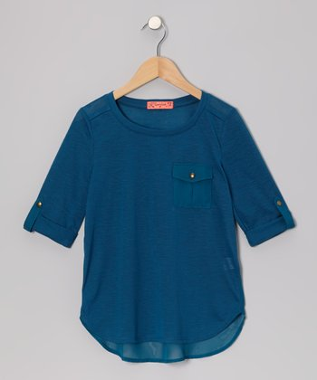 Teal Chiffon Pocket Top