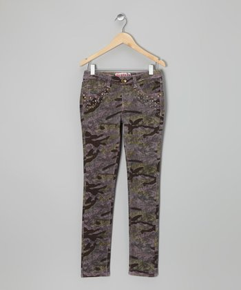 Green & Pink Camo Stud Jeggings