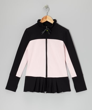 Black & Pink Pleated Warm-Up Jacket - Girls