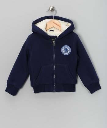 Navy Fleece Hoodie - Toddler & Boys