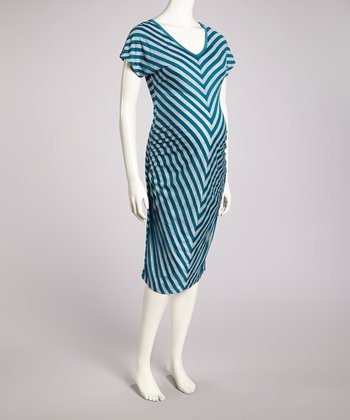 Teal & Heather Gray Chevron Maternity V-Neck Dress - Women