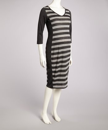 Charcoal & Heather Gray Stripe Maternity V-Neck Dress