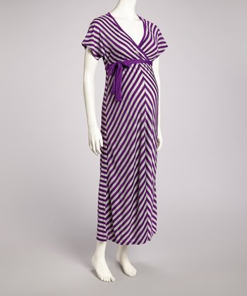 Purple & Heather Gray Maternity Maxi Dress - Women