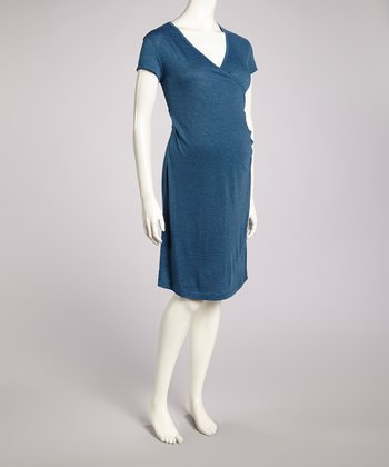 Navy Heather Maternity Surplice Dress