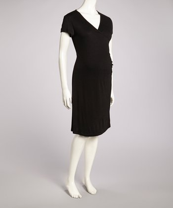 Black Heather Maternity Surplice Dress
