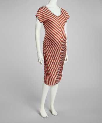 Rust & Gray Chevron Maternity V-Neck Dress - Women