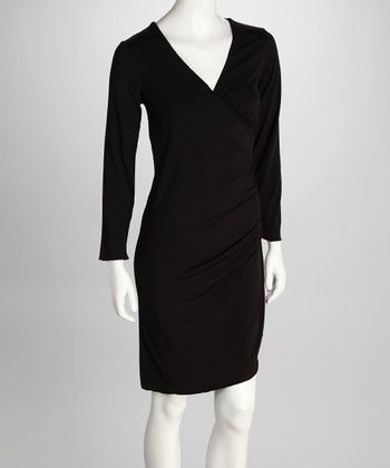 555 Los Angeles Black Ruched Surplice Dress - Women