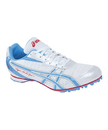 White & Periwinkle Hyper-Rocketgirl 5 Track & Field Shoe - Women