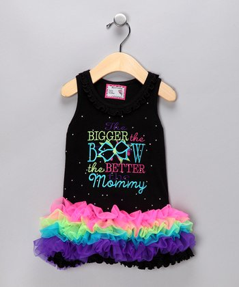 Black 'Bigger the Bow' Tutu Dress - Infant, Toddler & Girls