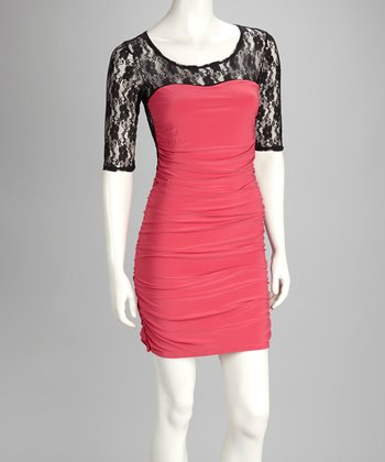 Black & Fuschia Lace Dress