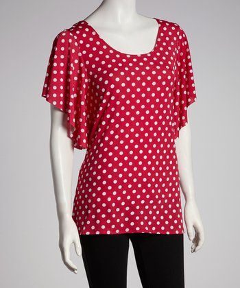 Fuchsia & White Polka Dot Cape-Sleeve Top