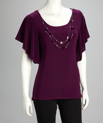 Plum & Silver Necklace Cape-Sleeve Top