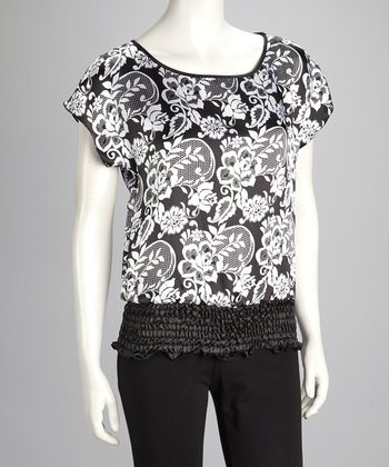 Ivory & Black Floral Shirred Cape-Sleeve Top