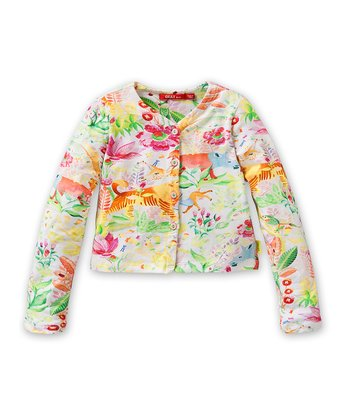 White Jungle Cardigan - Toddler & Girls