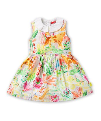 White & Yellow Deer Dress - Infant, Toddler & Girls