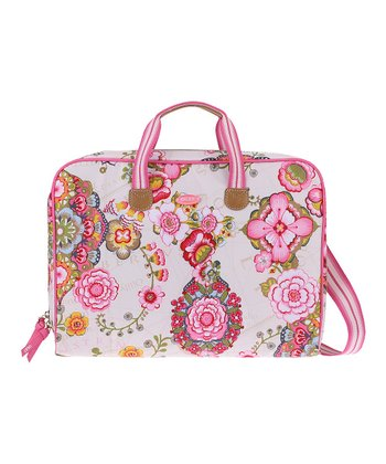 Cream Fantasy Flora Laptop Carrier
