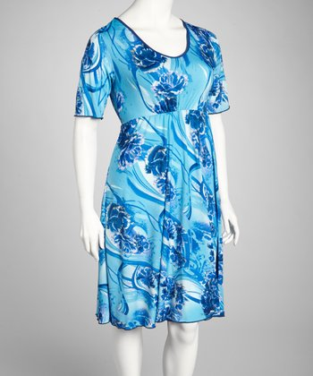 Blue & Turquoise Floral Short-Sleeve Dress - Plus