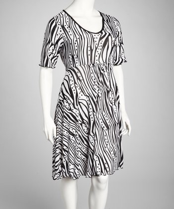 Black & White Abstract Short-Sleeve Dress - Plus