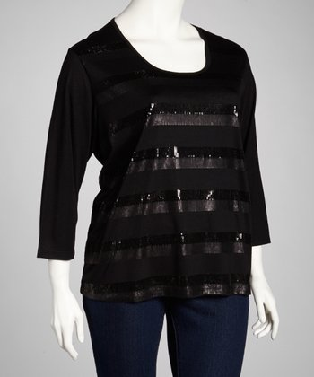 Black Sequin Three-Quarter Sleeve Top - Plus