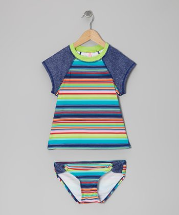 Denim Stripe Rashguard Set - Girls
