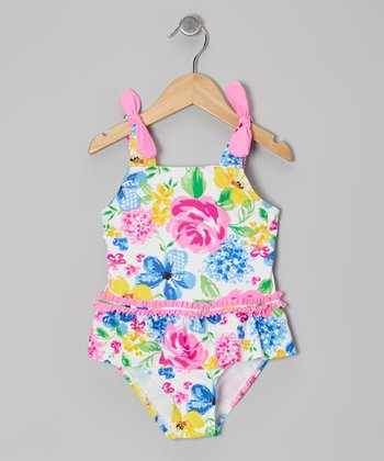 Pink Rose Skirted One-Piece - Girls