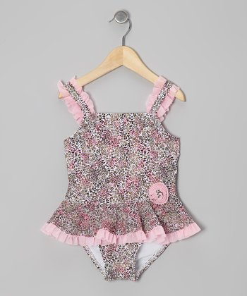 Pink Leopard Skirted One-Piece - Toddler