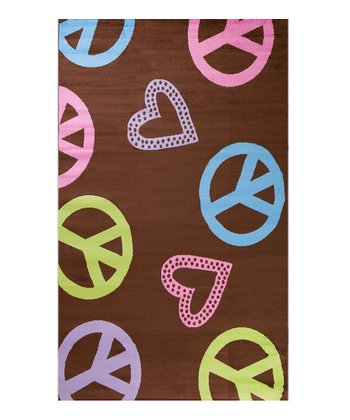 Brown Peace & Polka Hearts Rug