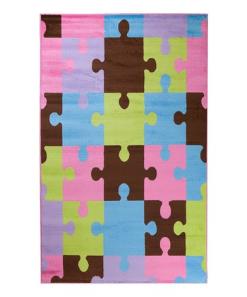 Pink & Brown Jigsaw Puzzle Rug
