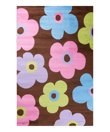 Brown Ditsy Flowers Rug